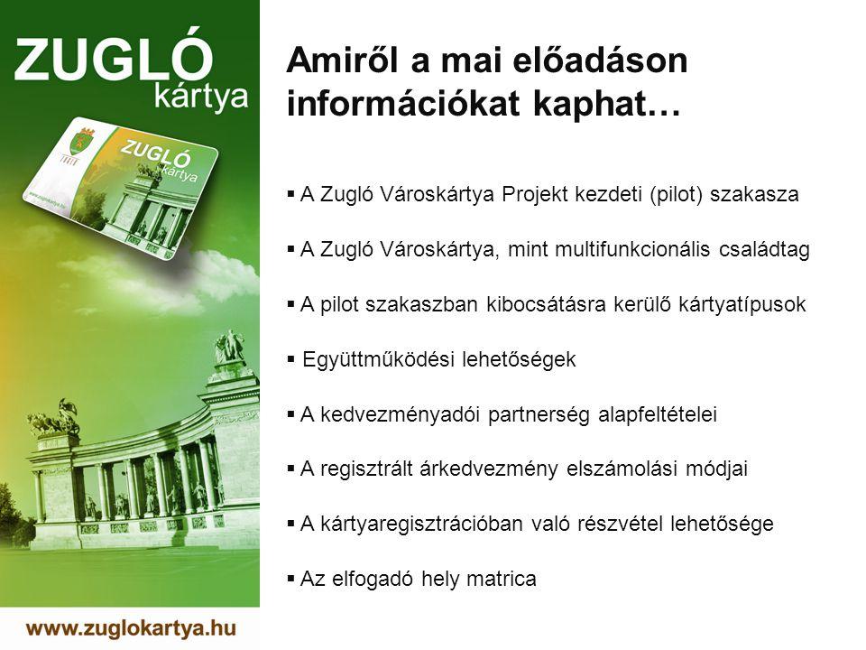 Amiről a mai előadáson információkat kaphat…  A Zugló Városkártya Projekt kezdeti (pilot) szakasza  A Zugló Városkártya, mint multifunkcionális családtag  A pilot szakaszban kibocsátásra kerülő kártyatípusok  Együttműködési lehetőségek  A kedvezményadói partnerség alapfeltételei  A regisztrált árkedvezmény elszámolási módjai  A kártyaregisztrációban való részvétel lehetősége  Az elfogadó hely matrica