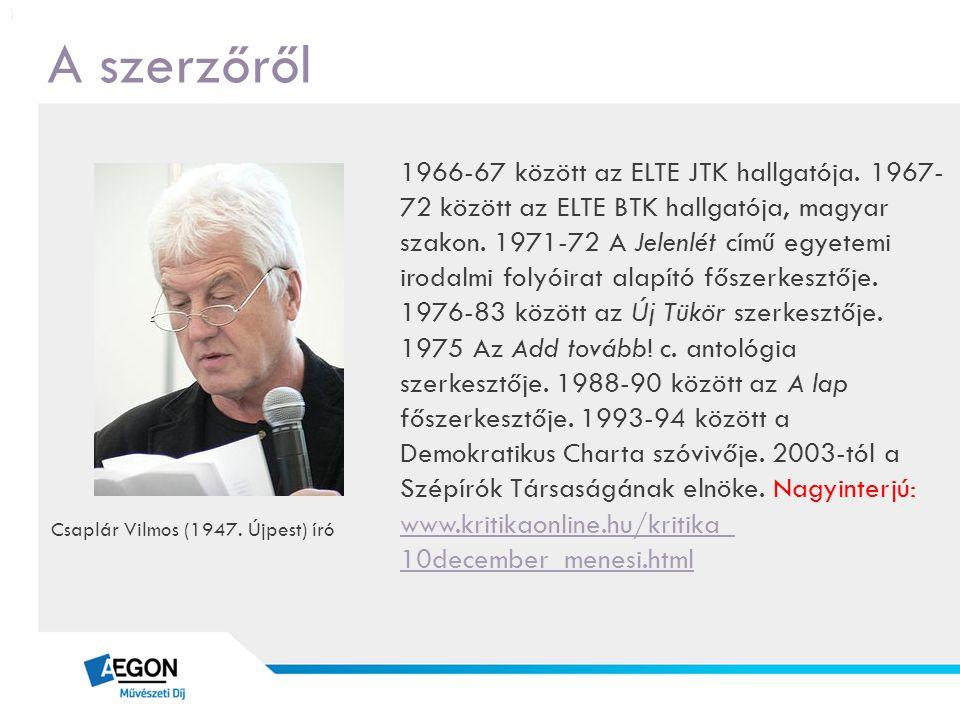 A szerzőről 1966-67 között az ELTE JTK hallgatója. 1967- 72 között az ELTE BTK hallgatója, magyar szakon. 1971-72 A Jelenlét című egyetemi irodalmi fo