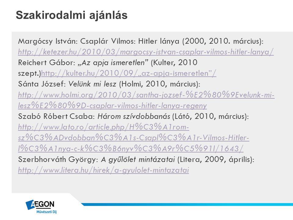 Szakirodalmi ajánlás Margócsy István: Csaplár Vilmos: Hitler lánya (2000, 2010. március): http://ketezer.hu/2010/03/margocsy-istvan-csaplar-vilmos-hit