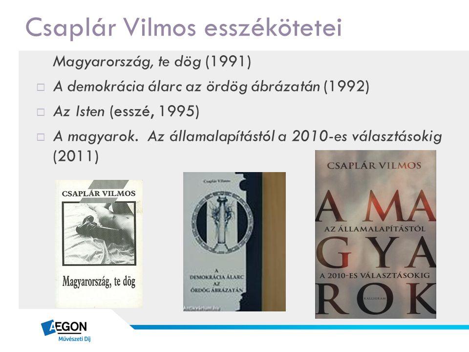 Csaplár Vilmos esszékötetei Magyarország, te dög (1991)  A demokrácia álarc az ördög ábrázatán (1992)  Az Isten (esszé, 1995)  A magyarok. Az állam