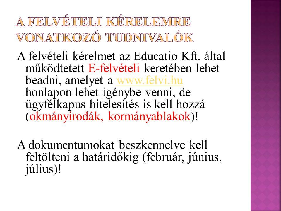 A felvételi kérelmet az Educatio Kft.