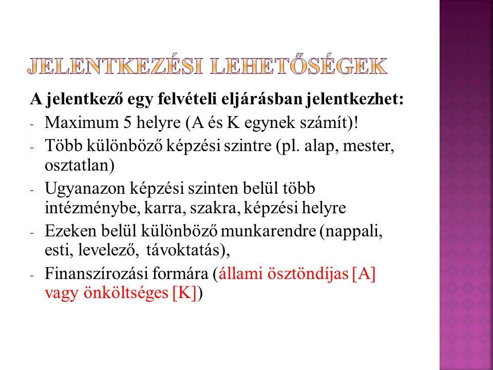 A jelentkező egy felvételi eljárásban jelentkezhet: - Maximum 5 helyre (A és K egynek számít).