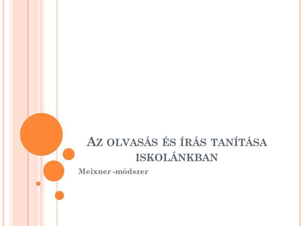 A Z OLVASÁS ÉS ÍRÁS TANÍTÁSA ISKOLÁNKBAN Meixner -módszer