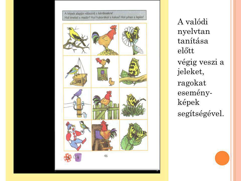 A valódi nyelvtan tanítása előtt végig veszi a jeleket, ragokat esemény- képek segítségével.