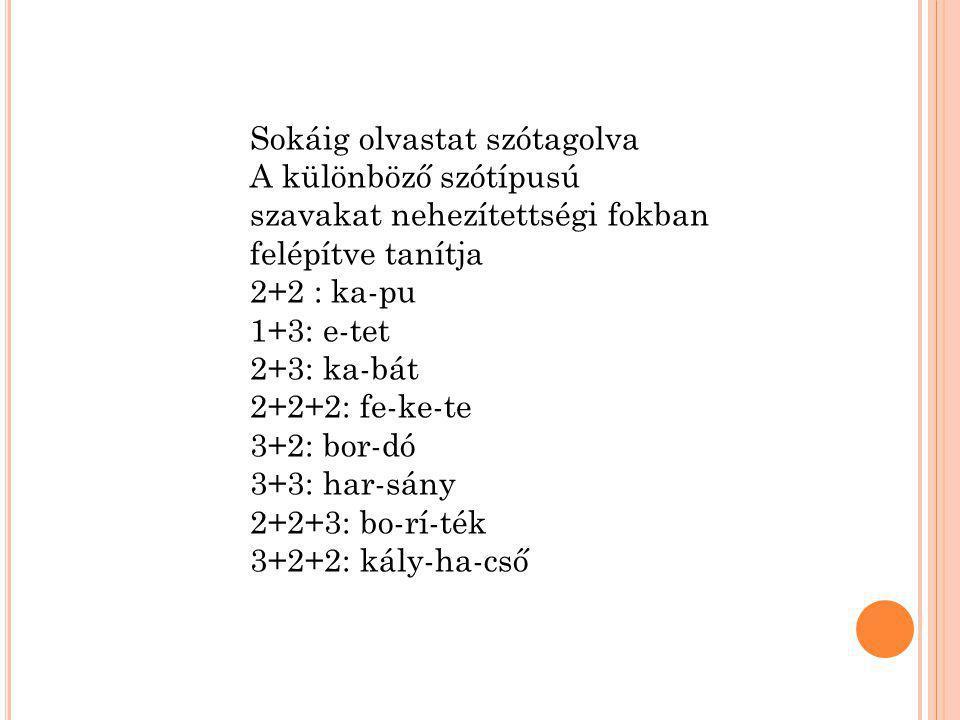 Sokáig olvastat szótagolva A különböző szótípusú szavakat nehezítettségi fokban felépítve tanítja 2+2 : ka-pu 1+3: e-tet 2+3: ka-bát 2+2+2: fe-ke-te 3+2: bor-dó 3+3: har-sány 2+2+3: bo-rí-ték 3+2+2: kály-ha-cső