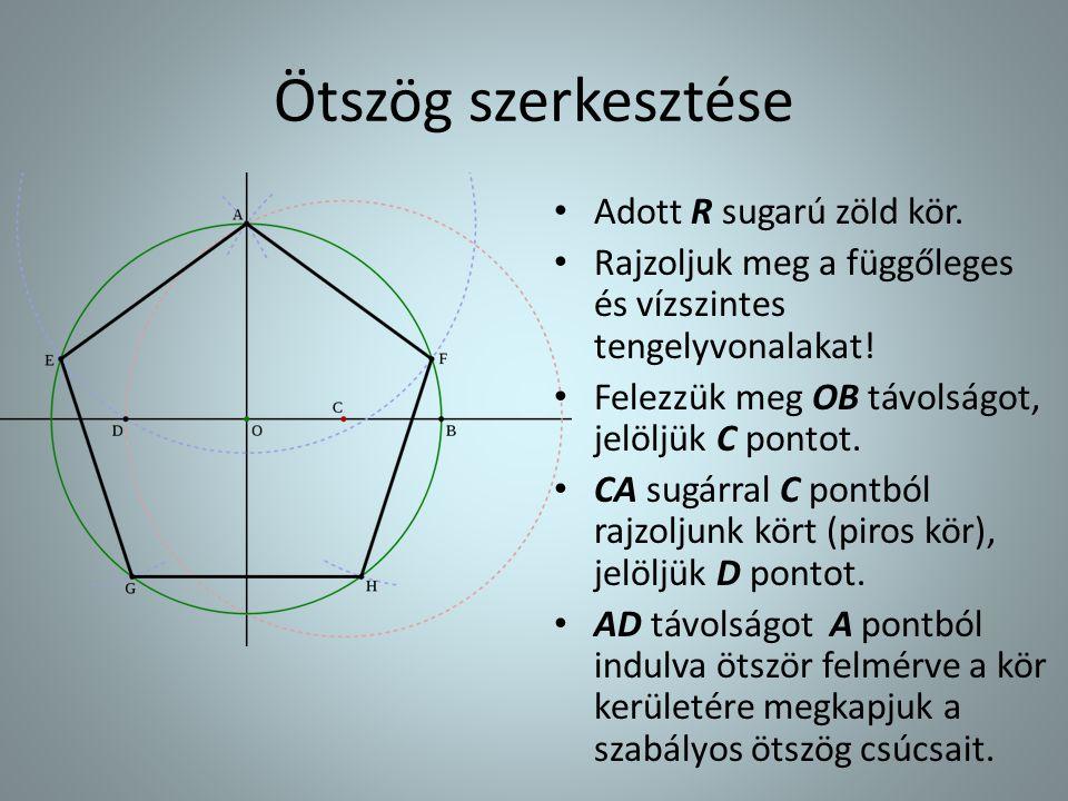 Ötszög szerkesztése • Adott R sugarú zöld kör. • Rajzoljuk meg a függőleges és vízszintes tengelyvonalakat! • Felezzük meg OB távolságot, jelöljük C p