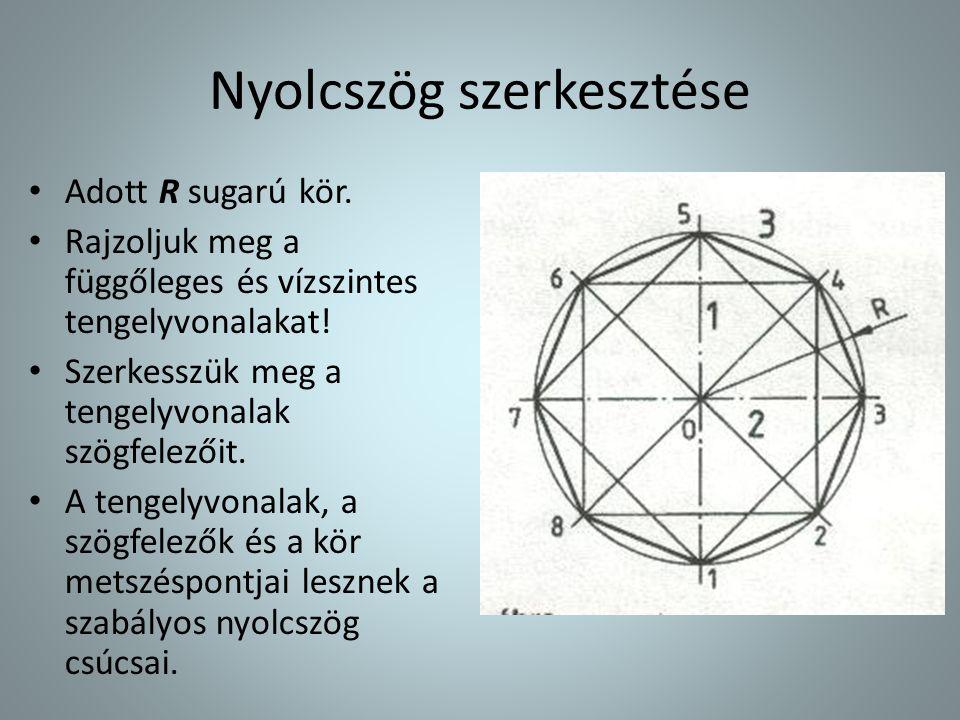 Nyolcszög szerkesztése • Adott R sugarú kör. • Rajzoljuk meg a függőleges és vízszintes tengelyvonalakat! • Szerkesszük meg a tengelyvonalak szögfelez