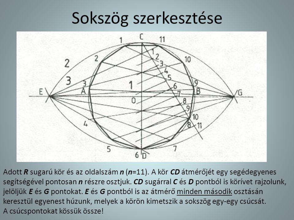 Sokszög szerkesztése Adott R sugarú kör és az oldalszám n (n=11). A kör CD átmérőjét egy segédegyenes segítségével pontosan n részre osztjuk. CD sugár