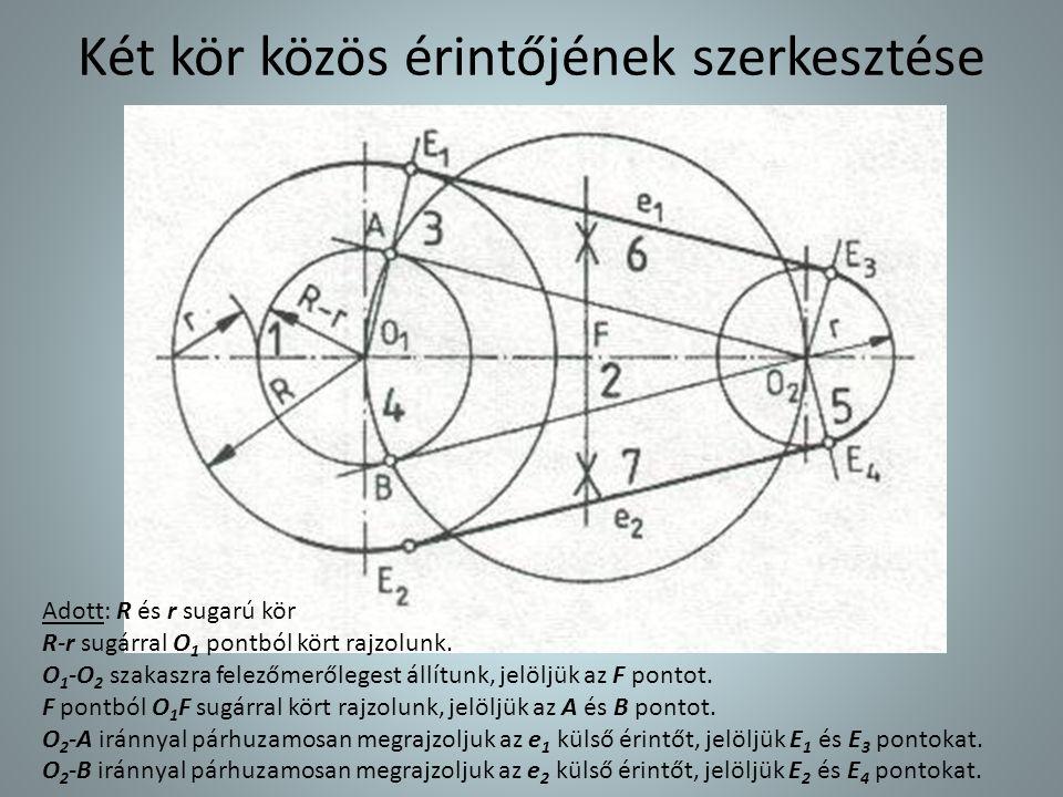 Két kör közös érintőjének szerkesztése Adott: R és r sugarú kör R-r sugárral O 1 pontból kört rajzolunk. O 1 -O 2 szakaszra felezőmerőlegest állítunk,