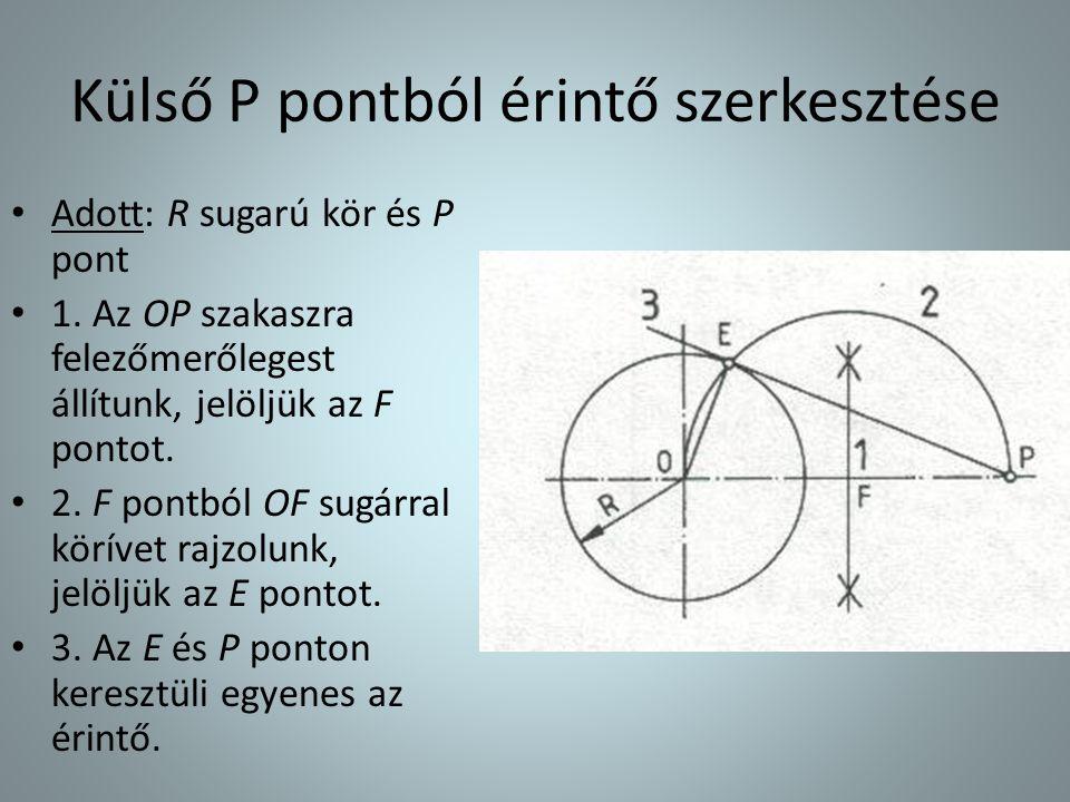 Külső P pontból érintő szerkesztése • Adott: R sugarú kör és P pont • 1. Az OP szakaszra felezőmerőlegest állítunk, jelöljük az F pontot. • 2. F pontb