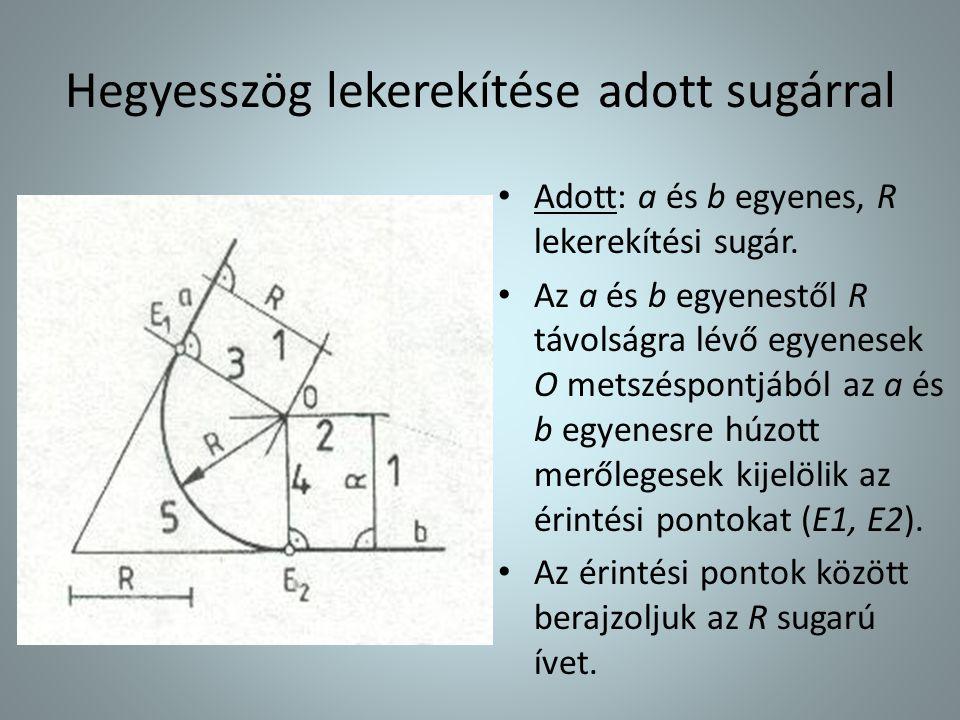 • Adott: a és b egyenes, R lekerekítési sugár. • Az a és b egyenestől R távolságra lévő egyenesek O metszéspontjából az a és b egyenesre húzott merőle