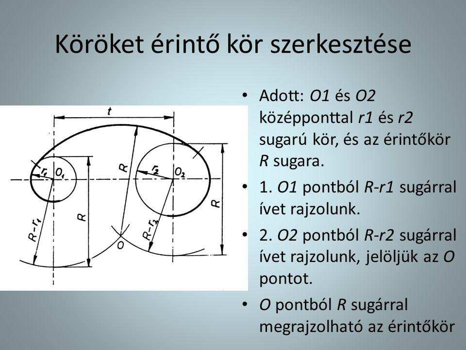 Köröket érintő kör szerkesztése • Adott: O1 és O2 középponttal r1 és r2 sugarú kör, és az érintőkör R sugara. • 1. O1 pontból R-r1 sugárral ívet rajzo