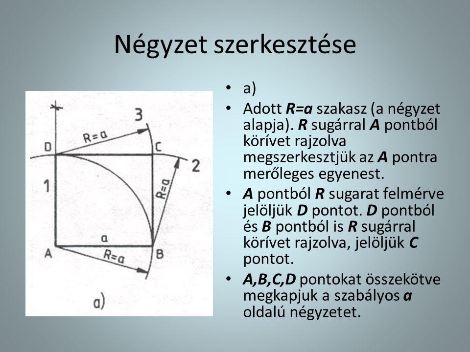 Négyzet szerkesztése • a) • Adott R=a szakasz (a négyzet alapja). R sugárral A pontból körívet rajzolva megszerkesztjük az A pontra merőleges egyenest
