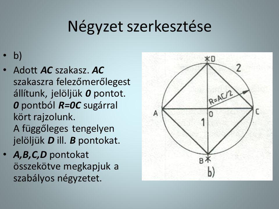 Négyzet szerkesztése • b) • Adott AC szakasz. AC szakaszra felezőmerőlegest állítunk, jelöljük 0 pontot. 0 pontból R=0C sugárral kört rajzolunk. A füg