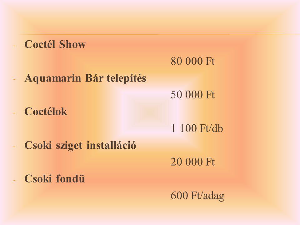 - Coctél Show 80 000 Ft - Aquamarin Bár telepítés 50 000 Ft - Coctélok 1 100 Ft/db - Csoki sziget installáció 20 000 Ft - Csoki fondü 600 Ft/adag