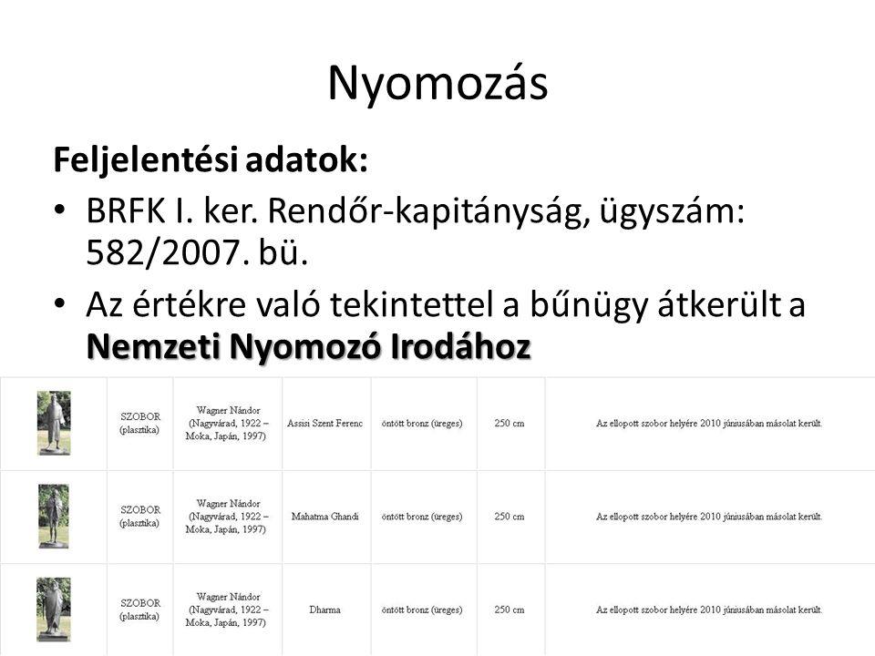 Nyomozás Feljelentési adatok: • BRFK I. ker. Rendőr-kapitányság, ügyszám: 582/2007. bü. Nemzeti Nyomozó Irodához • Az értékre való tekintettel a bűnüg