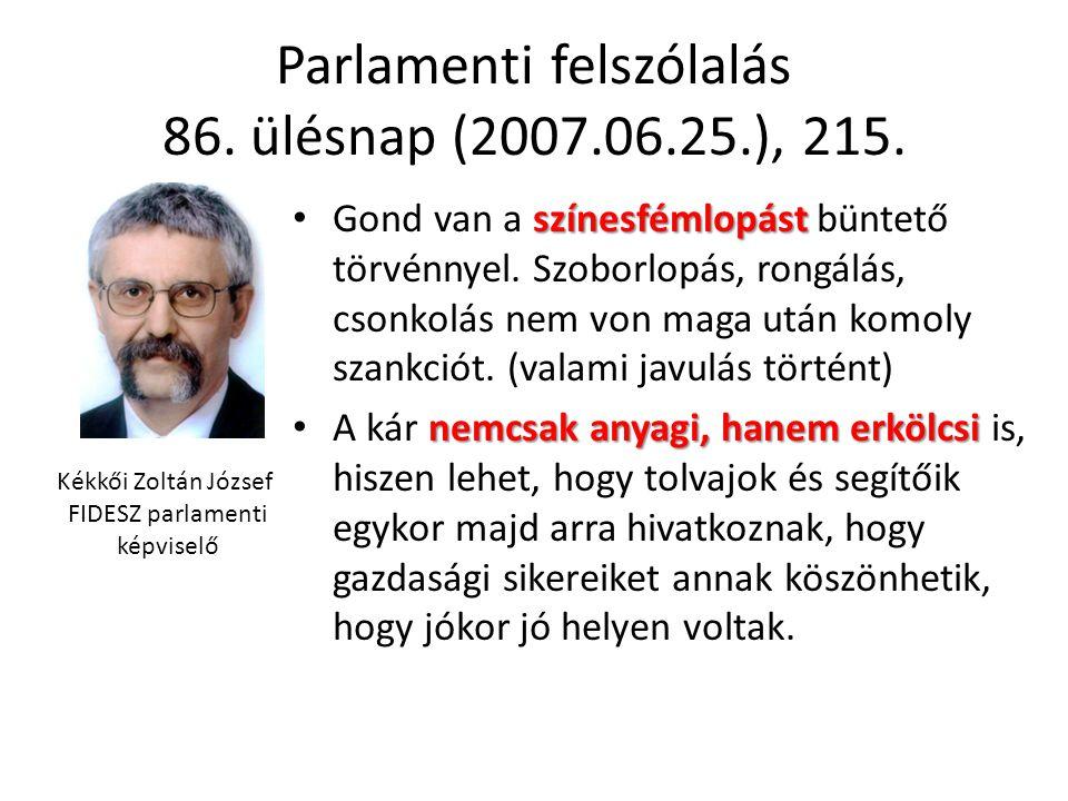 Parlamenti felszólalás 86. ülésnap (2007.06.25.), 215. színesfémlopást • Gond van a színesfémlopást büntető törvénnyel. Szoborlopás, rongálás, csonkol