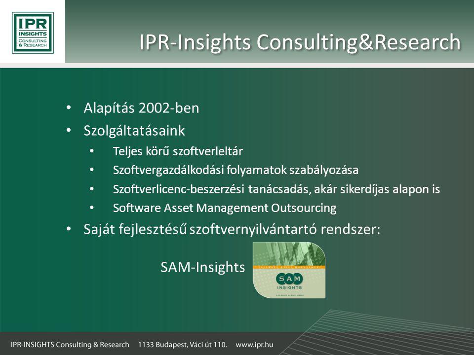 • Alapítás 2002-ben • Szolgáltatásaink • Teljes körű szoftverleltár • Szoftvergazdálkodási folyamatok szabályozása • Szoftverlicenc-beszerzési tanácsadás, akár sikerdíjas alapon is • Software Asset Management Outsourcing • Saját fejlesztésű szoftvernyilvántartó rendszer: SAM-Insights