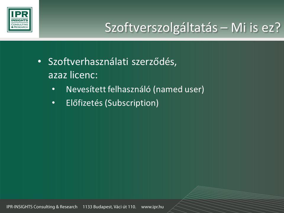 Szoftverszolgáltatás – Mi is ez? • Szoftverhasználati szerződés, azaz licenc: • Nevesített felhasználó (named user) • Előfizetés (Subscription)