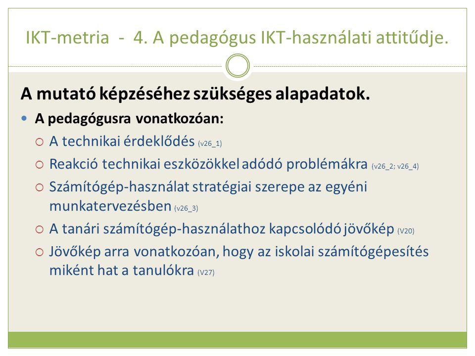 IKT-metria - 4. A pedagógus IKT-használati attitűdje. A mutató képzéséhez szükséges alapadatok.  A pedagógusra vonatkozóan:  A technikai érdeklődés