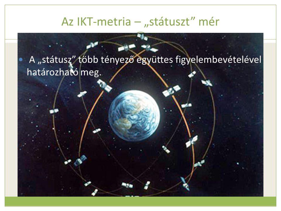 """Az IKT-metria – """"státuszt"""" mér  A """"státusz"""" több tényező együttes figyelembevételével határozható meg."""