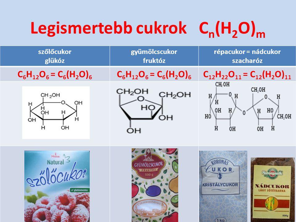 szőlőcukor glükóz gyümölcscukor fruktóz répacukor = nádcukor szacharóz C 6 H 12 O 6 = C 6 (H 2 O) 6 C 12 H 22 O 11 = C 12 (H 2 O) 11 Legismertebb cukr
