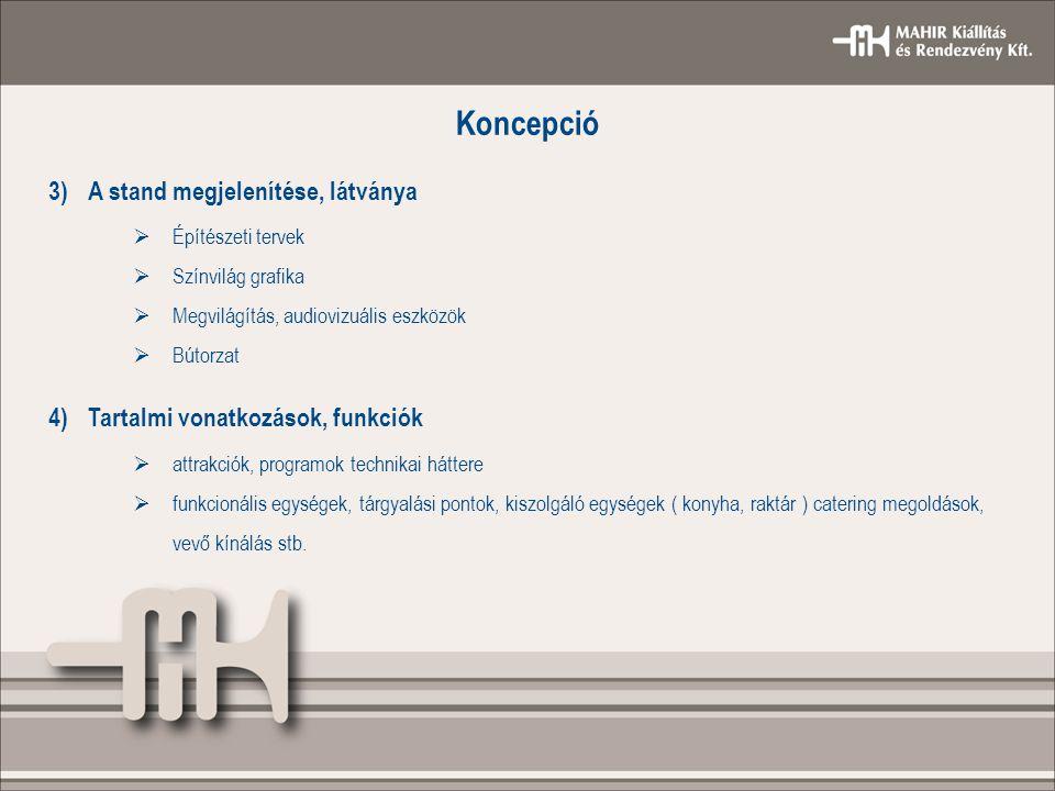 Koncepció 3)A stand megjelenítése, látványa  Építészeti tervek  Színvilág grafika  Megvilágítás, audiovizuális eszközök  Bútorzat 4)Tartalmi vonat