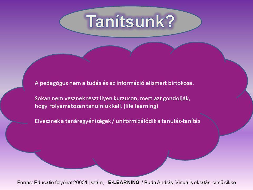 Forrás: Educatio folyóirat 2003/III szám, - E-LEARNING / Buda András: Virtuális oktatás című cikke A pedagógus nem a tudás és az információ elismert birtokosa.
