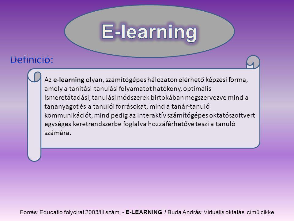 Az e-learning olyan, számítógépes hálózaton elérhető képzési forma, amely a tanítási-tanulási folyamatot hatékony, optimális ismeretátadási, tanulási módszerek birtokában megszervezve mind a tananyagot és a tanulói forrásokat, mind a tanár-tanuló kommunikációt, mind pedig az interaktív számítógépes oktatószoftvert egységes keretrendszerbe foglalva hozzáférhetővé teszi a tanuló számára.