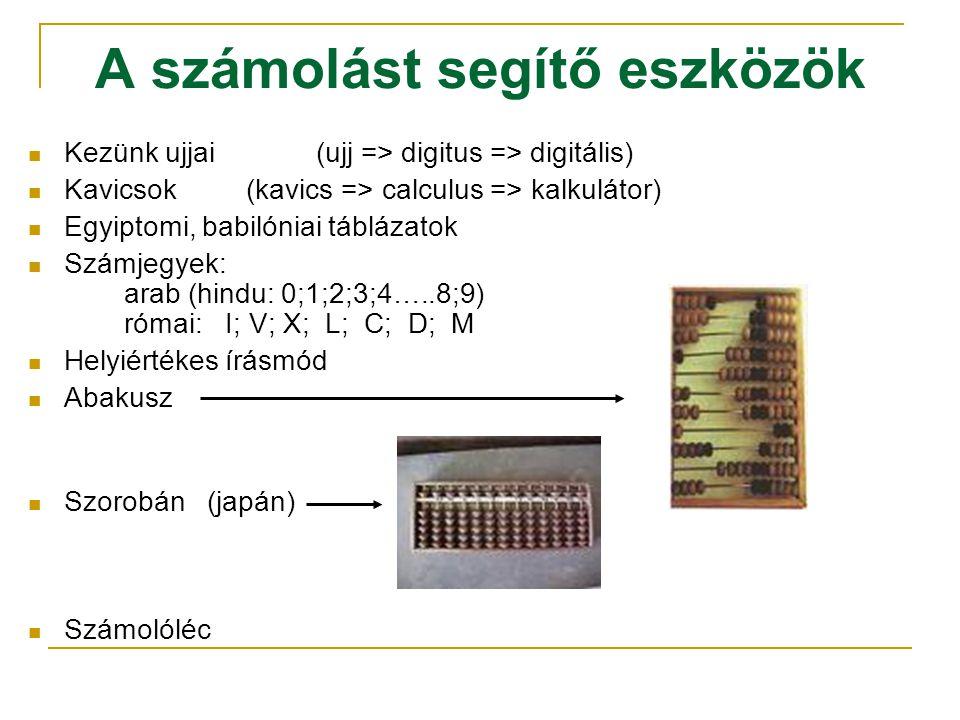 A számolást segítő eszközök  Kezünk ujjai(ujj => digitus => digitális)  Kavicsok (kavics => calculus => kalkulátor)  Egyiptomi, babilóniai táblázat
