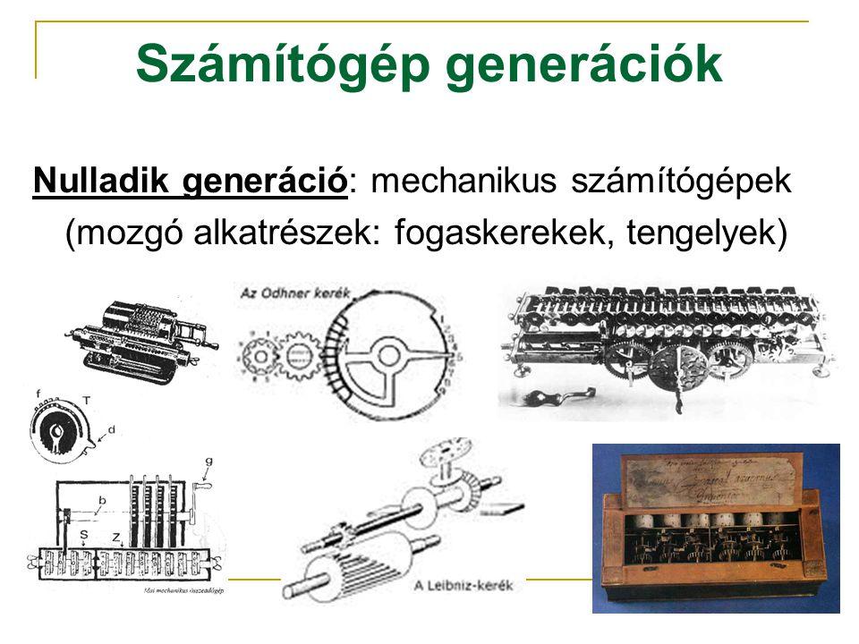 Számítógép generációk Nulladik generáció: mechanikus számítógépek (mozgó alkatrészek: fogaskerekek, tengelyek)
