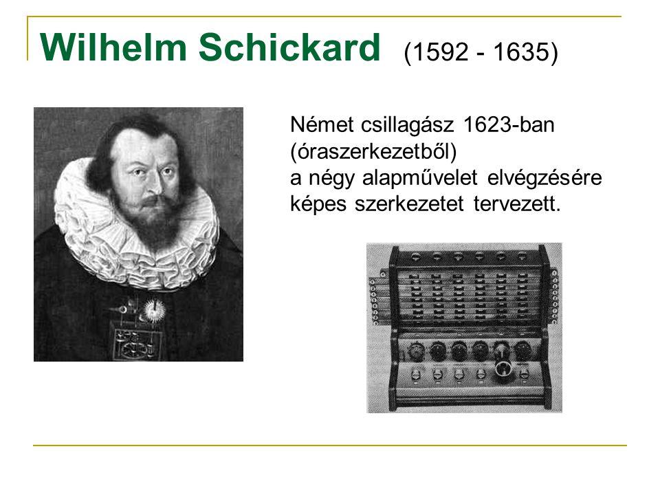 Wilhelm Schickard (1592 - 1635) Német csillagász 1623-ban (óraszerkezetből) a négy alapművelet elvégzésére képes szerkezetet tervezett.