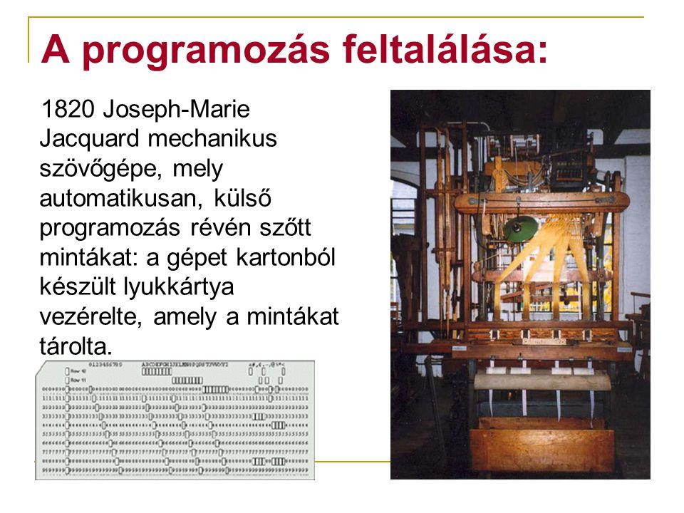 A programozás feltalálása: 1820 Joseph-Marie Jacquard mechanikus szövőgépe, mely automatikusan, külső programozás révén szőtt mintákat: a gépet karton
