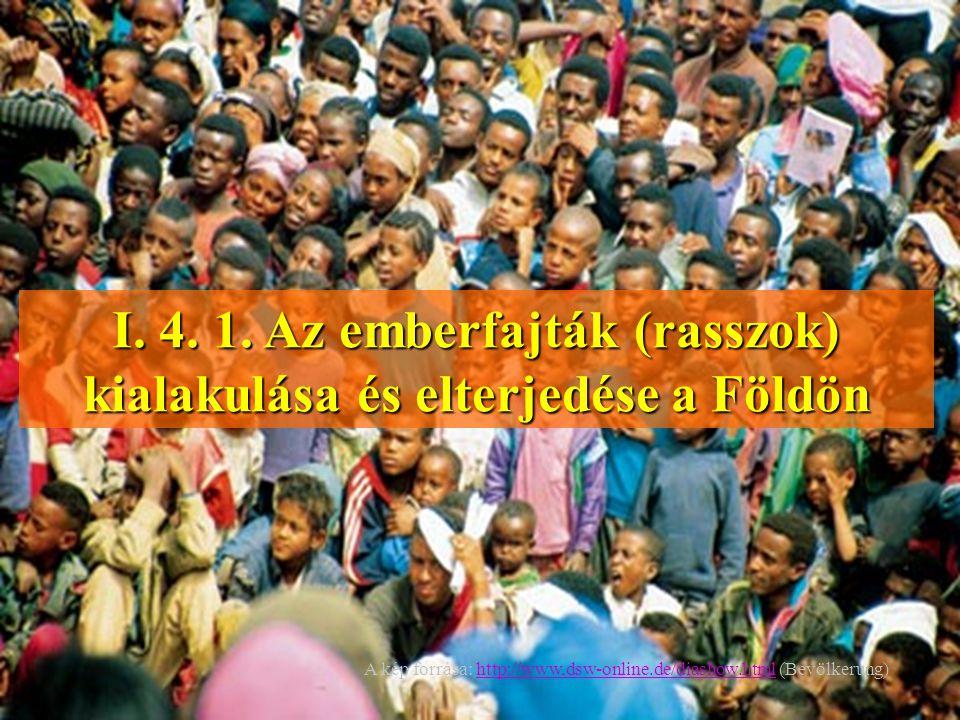 I. 4. 1. Az emberfajták (rasszok) kialakulása és elterjedése a Földön A kép forrása: http://www,dsw-online.de/diashow.html (Bevölkerung)http://www,dsw