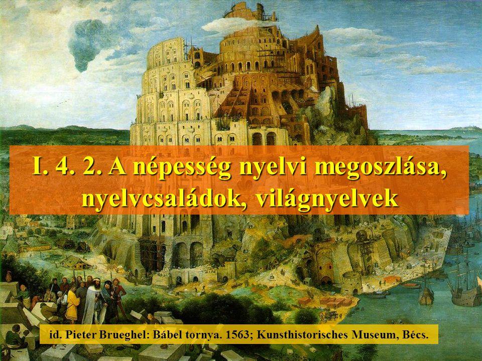 I. 4. 2. A népesség nyelvi megoszlása, nyelvcsaládok, világnyelvek id. Pieter Brueghel: Bábel tornya. 1563; Kunsthistorisches Museum, Bécs.