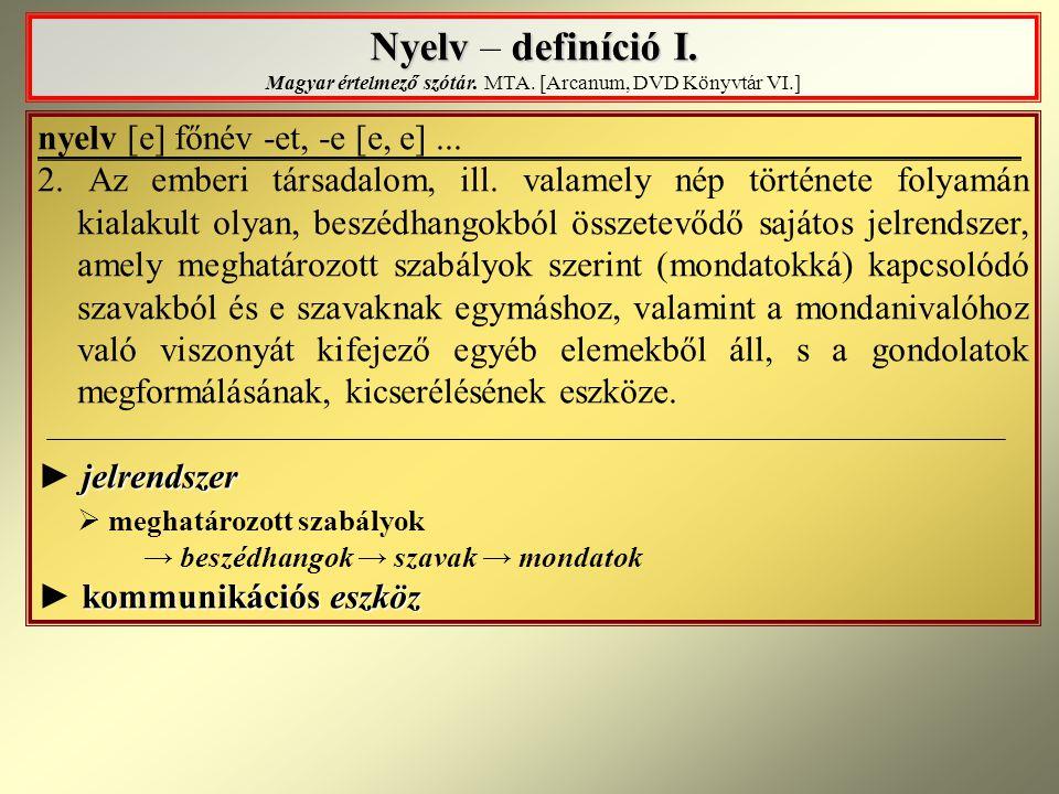 Nyelv definíció I. Nyelv – definíció I. Magyar értelmező szótár. MTA. [Arcanum, DVD Könyvtár VI.] nyelv [e] főnév -et, -e [e, e]... 2. A z emberi társ