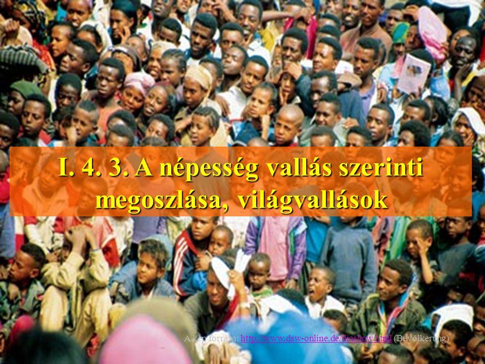 I. 4. 3. A népesség vallás szerinti megoszlása, világvallások A kép forrása: http://www,dsw-online.de/diashow.html (Bevölkerung)http://www,dsw-online.