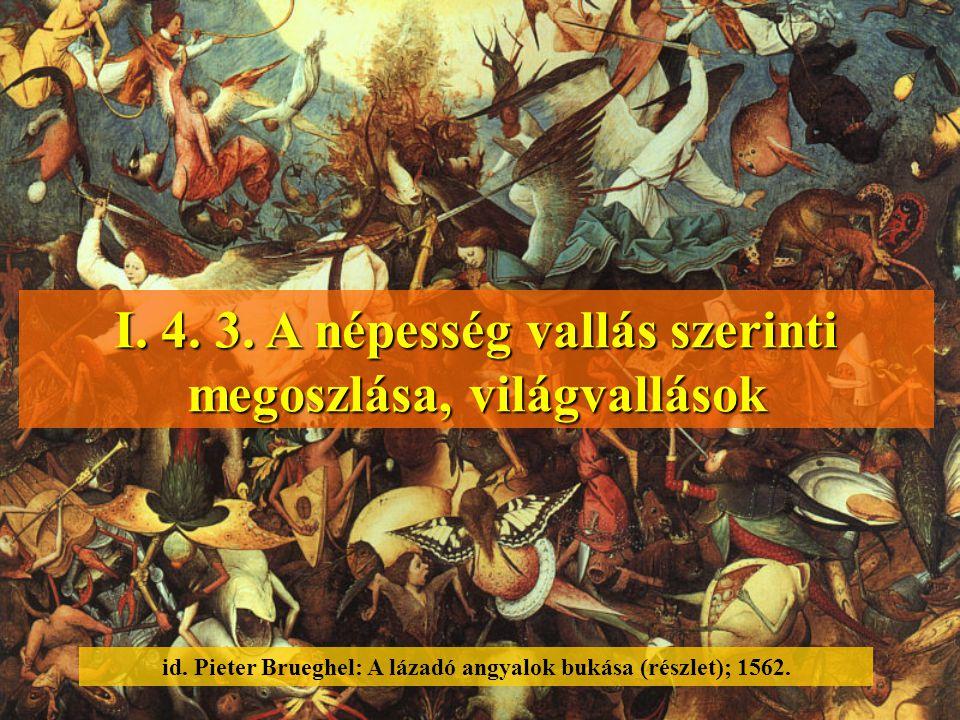 I. 4. 3. A népesség vallás szerinti megoszlása, világvallások id. Pieter Brueghel: A lázadó angyalok bukása (részlet); 1562.