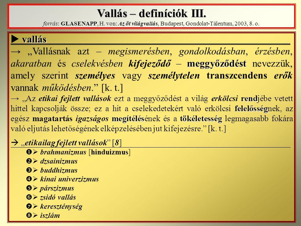 Vallás – definíciók III. Vallás – definíciók III. forrás: GLASENAPP, H. von: Az öt világvallás, Budapest, Gondolat-Tálentum, 2003, 8. o. vallás  vall