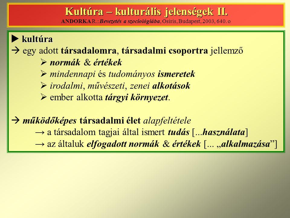 Kultúra – kulturális jelenségek II. Kultúra – kulturális jelenségek II. ANDORKA R.: Bevezetés a szociológiába, Osiris, Budapest, 2003, 640. o kultúra