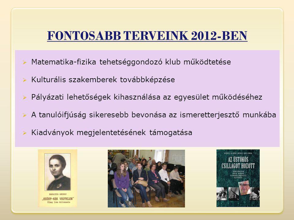FONTOSABB TERVEINK 2012-BEN  Matematika-fizika tehetséggondozó klub működtetése  Kulturális szakemberek továbbképzése  Pályázati lehetőségek kihasználása az egyesület működéséhez  A tanulóifjúság sikeresebb bevonása az ismeretterjesztő munkába  Kiadványok megjelentetésének támogatása