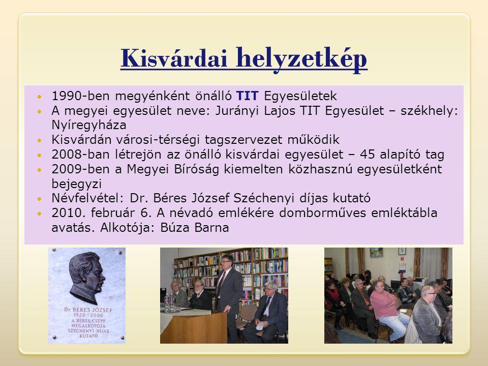 Kisvárdai helyzetkép  1990-ben megyénként önálló TIT Egyesületek  A megyei egyesület neve: Jurányi Lajos TIT Egyesület – székhely: Nyíregyháza  Kisvárdán városi-térségi tagszervezet működik  2008-ban létrejön az önálló kisvárdai egyesület – 45 alapító tag  2009-ben a Megyei Bíróság kiemelten közhasznú egyesületként bejegyzi  Névfelvétel: Dr.