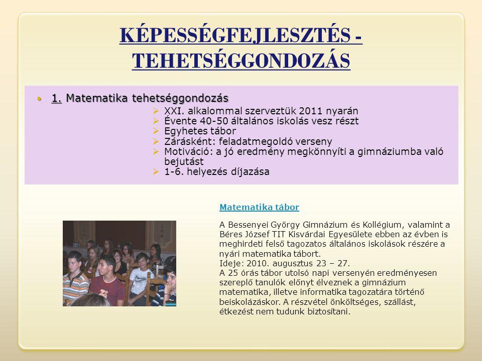 KÉPESSÉGFEJLESZTÉS - TEHETSÉGGONDOZÁS  1.Matematika tehetséggondozás  1.