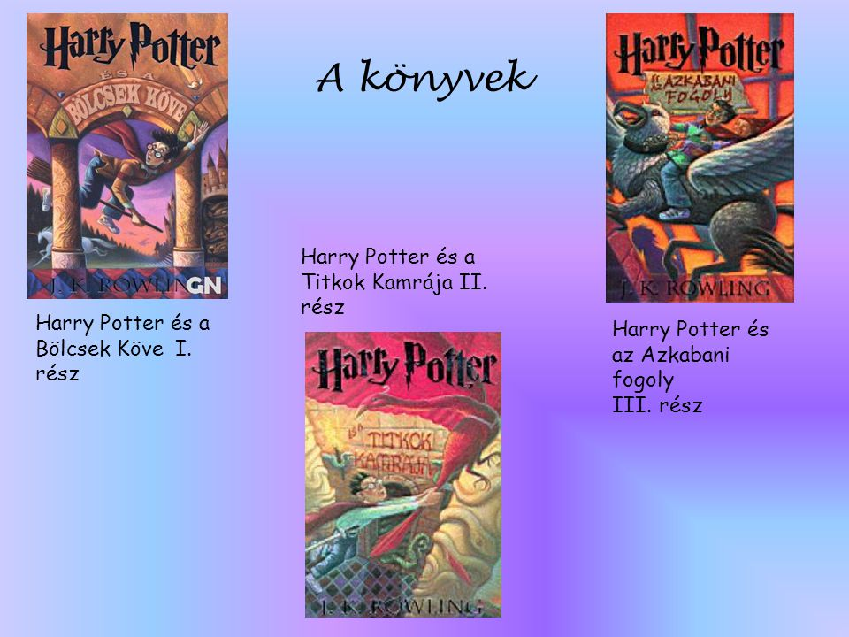 Harry Potter és a Bölcsek Köve I. rész Harry Potter és a Titkok Kamrája II. rész Harry Potter és az Azkabani fogoly III. rész A könyvek