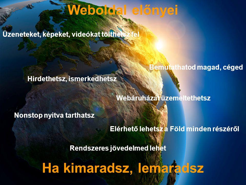 Weboldal előnyei Üzeneteket, képeket, videókat tölthetsz fel Bemutathatod magad, céged Hirdethetsz, ismerkedhetsz Webáruházat üzemeltethetsz Nonstop nyitva tarthatsz Elérhető lehetsz a Föld minden részéről Rendszeres jövedelmed lehet Ha kimaradsz, lemaradsz