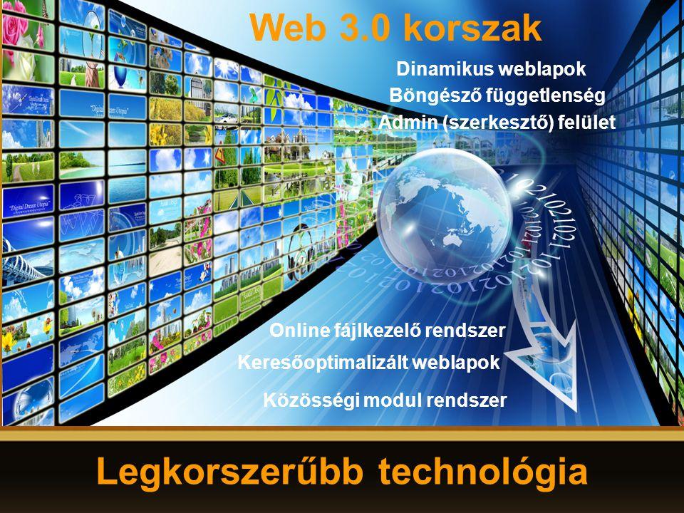 Közösségi modul rendszer Web 3.0 korszak Dinamikus weblapok Admin (szerkesztő) felület Online fájlkezelő rendszer Keresőoptimalizált weblapok Legkorszerűbb technológia Böngésző függetlenség