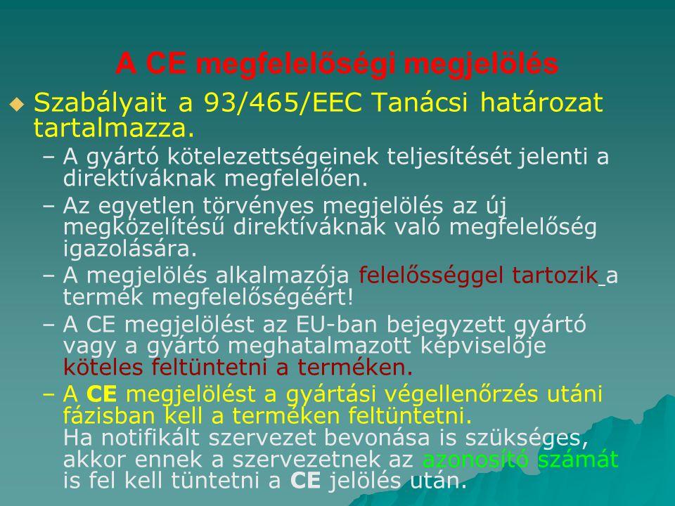 A CE megfelelőségi megjelölés   Szabályait a 93/465/EEC Tanácsi határozat tartalmazza. – –A gyártó kötelezettségeinek teljesítését jelenti a direktí