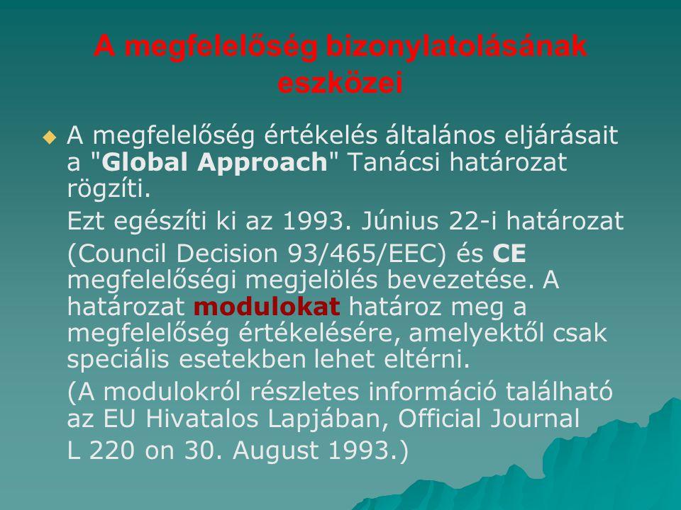 A megfelelőség bizonylatolásának eszközei   A megfelelőség értékelés általános eljárásait a Global Approach Tanácsi határozat rögzíti.