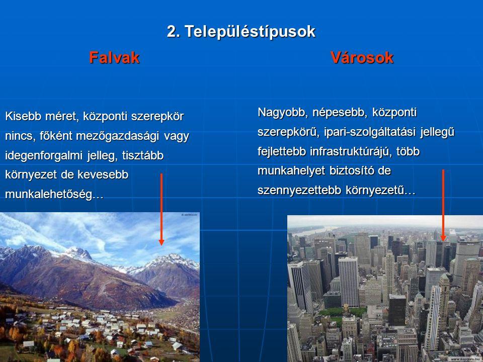 2. Településtípusok FalvakVárosok Kisebb méret, központi szerepkör nincs, főként mezőgazdasági vagy idegenforgalmi jelleg, tisztább környezet de keves