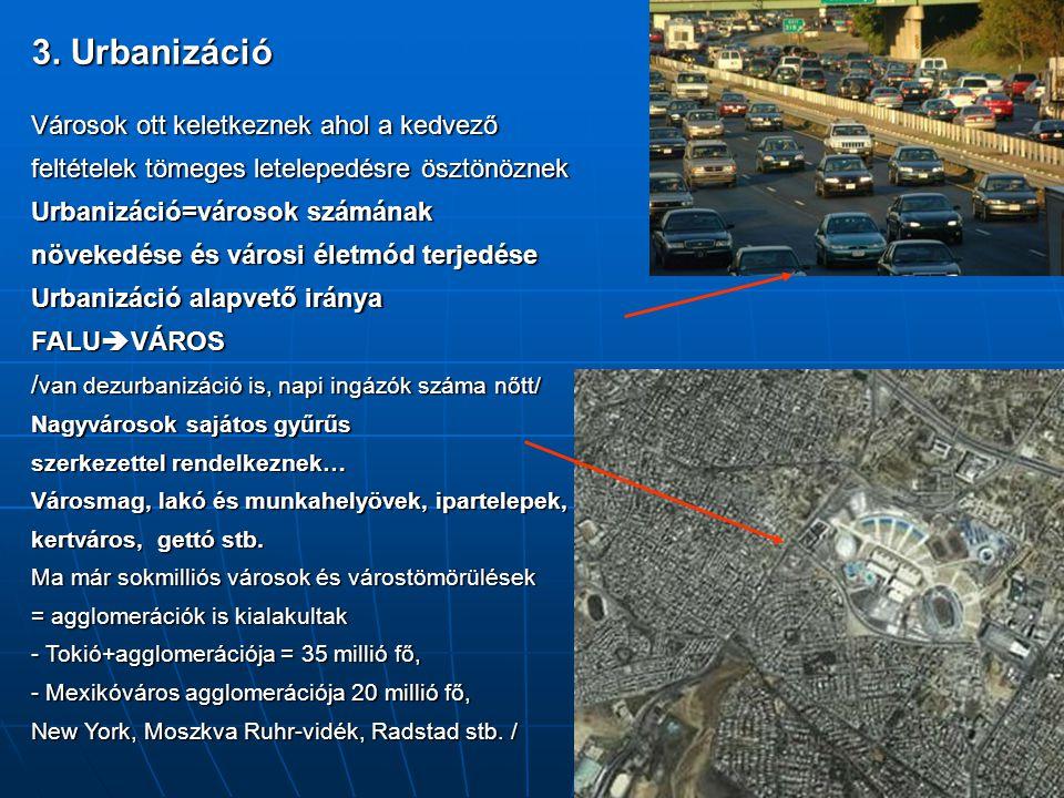 3. Urbanizáció Városok ott keletkeznek ahol a kedvező feltételek tömeges letelepedésre ösztönöznek Urbanizáció=városok számának növekedése és városi é
